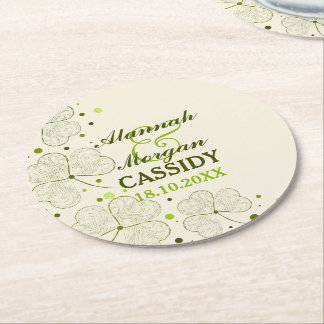 Shamrocks Polka Dots Irish Wedding Paper Coasters