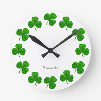 Shamrocks Pop Art Wall Clock