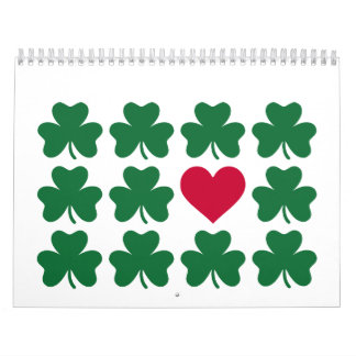 Shamrocks red heart calendar
