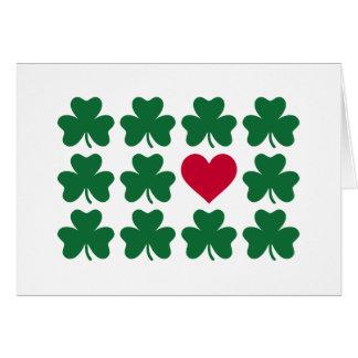 Shamrocks red heart card