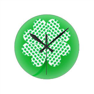 Shamrocks Round Clock
