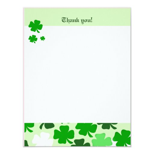 SHAMROCKS St Patricks day 4x5 Flat Thank you note Card