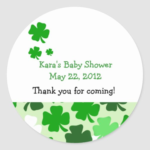 SHAMROCKS ST PATRICKS DAY Custom Favor Sticker