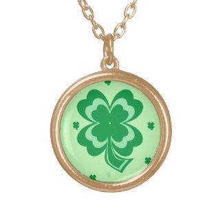 Shamrocks St Patrick's Day Gold Necklace