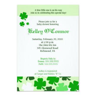 SHAMROCKS ST PATRICKS DAY GREEN Baby Shower Card