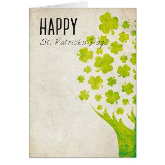 Shamrocks Tree Vintage Card
