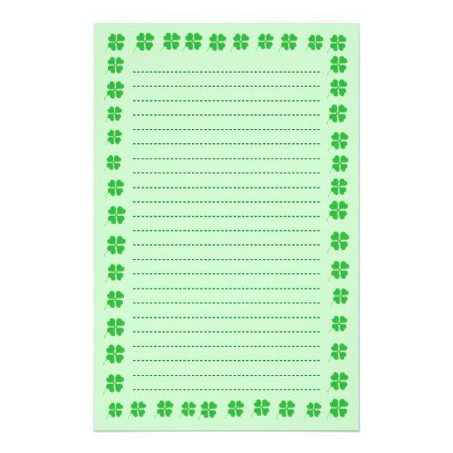 Shamrocks Trimmed in Gold, Lined Stationery