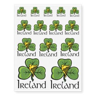 Shamrocks With Irish Harps Temporary Tattoos