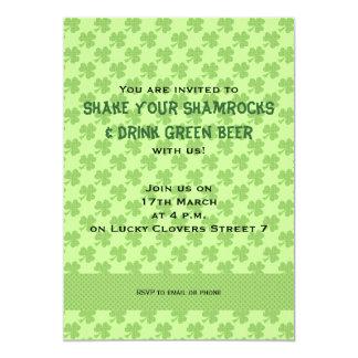 Shamrocks with Polka dots St. Patrick's Day 5x7 Paper Invitation Card