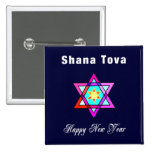 Shana Tova Jewish Star Pinback Button