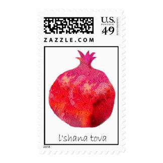 Shanah tova card with a rimon pomegranate postage