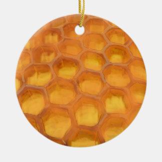 Shanah Tovah Honeycomb drawing Happy Rosh Hashanah Ceramic Ornament