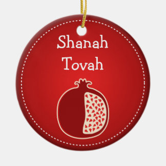Shanah Tovah Rosh Hashanah Jewish New Year Ceramic Ornament