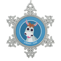 Shane the Donkey Snowflake Pewter Christmas Ornament