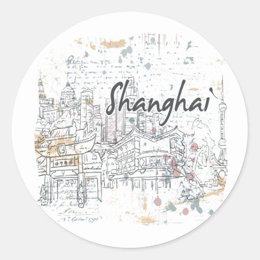 Shangai Pegatina Redonda