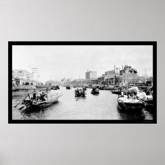 Shanghai, China Cotton Boats 1898 Poster