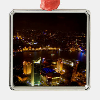 Shanghai China wonderful skyline with modern Square Metal Christmas Ornament