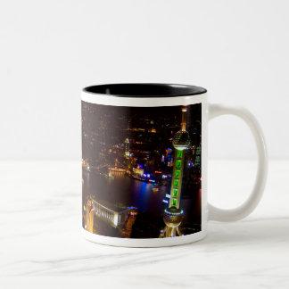 Shanghai China wonderful skyline with modern Two-Tone Coffee Mug