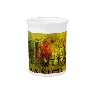 Shanghai City Skyline on Grunge Background Illustr Pitcher