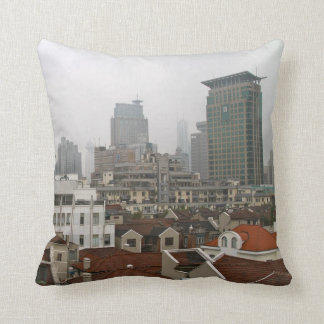 Shanghai City View Throw Pillow