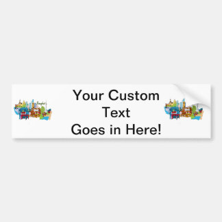 shanghai city watercolored muted colors design.png car bumper sticker