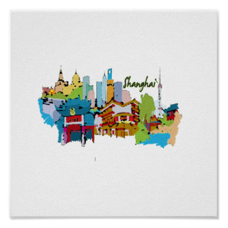 shanghai city watercolored muted colors design.png poster