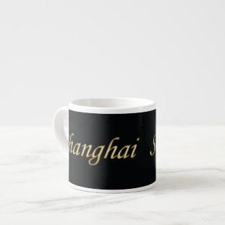 Shanghai Gold - English - On Black 6 Oz Ceramic Espresso Cup