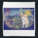 """Shanghai Kitty Bandana<br><div class=""""desc"""">Oriental style painting done in a traditional Chinese style  I did this in a distinctive pen &amp; ink style Hopefully Bruce Lee would be proud of.</div>"""