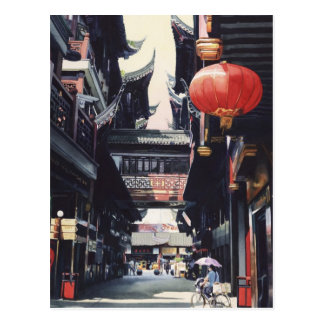 """Shanghai Market"" China Watercolor Postcard"