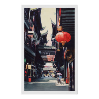 """Shanghai Market"" China Watercolor Poster"