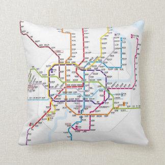 Shanghai Metro Map Throw Pillows