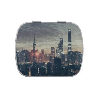 Shanghai Night Skyline Candy Tin