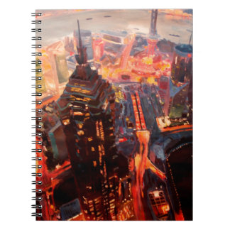 Shanghai Skyline At Dusk With Yangtze Notebook