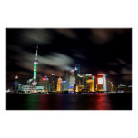 Shanghai Skyline by Night Poster