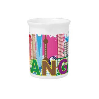 Shanghai Skyline Paint Splatter Illustration Drink Pitcher
