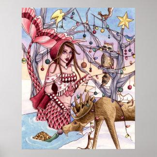 Shanna - poster de la sirena del navidad póster