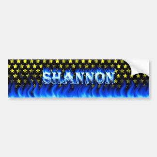 Shannon blue fire and flames bumper sticker design
