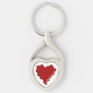 Shannon. Red heart wax seal with name Shannon Keychain