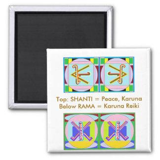 SHANTI = Peace: Karuna Reiki 2 Inch Square Magnet