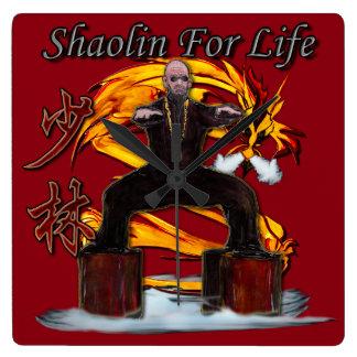 Shaolin Dragon Monk Square Wallclocks