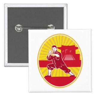 Shaolin Kung Fu Martial Arts Master Retro 2 Inch Square Button