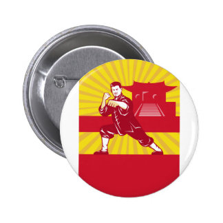 Shaolin Kung Fu Martial Arts Master Retro 2 Inch Round Button