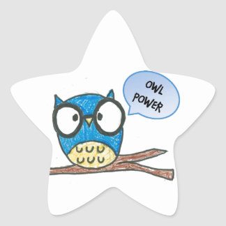 Shape:Star Stickers_ Owl power or customize it Star Sticker