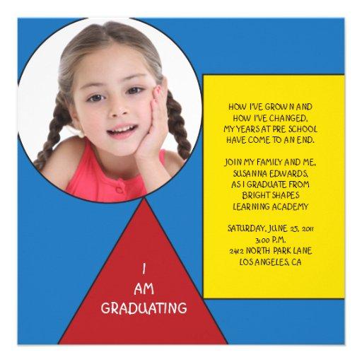 Shapes Preschool/Kindergarten Graduation Custom Announcements