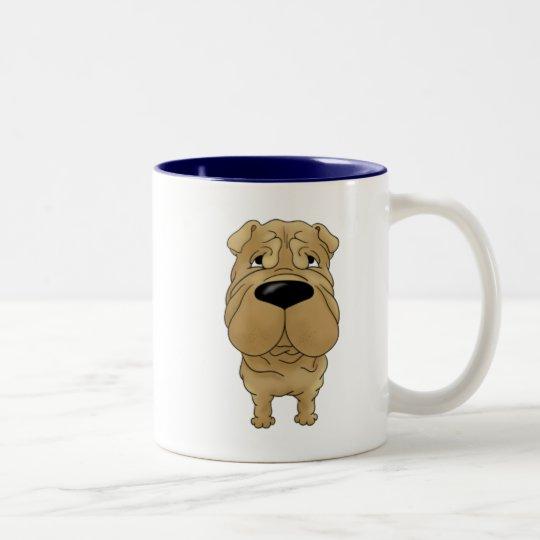 Shar-Pei - Big Nose and Butt Two-Tone Coffee Mug