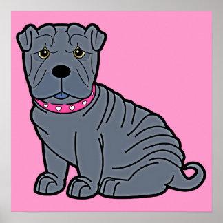Shar-Pei con el cuello rosado Impresiones