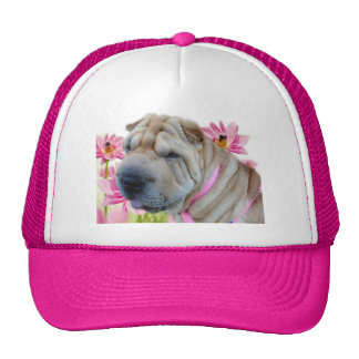 Shar-pei con las flores rosadas gorro