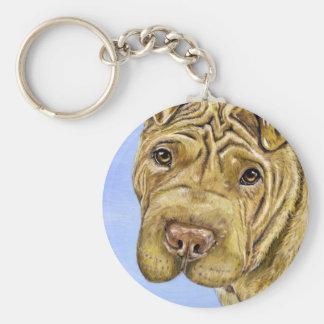 Shar Pei Dog Art - Aspen Keychain
