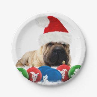 "Shar Pei Dog In Santa Hat Custom Paper Plates 7"""