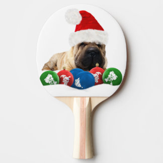 Shar Pei Dog Ping Pong Paddle, Red Rubber Back Ping-Pong Paddle